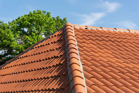 Photo pour Orange roof tile pattern over blue and cloudy spring sky day and green tree in the background. The roof on modern house building. Close up - image libre de droit