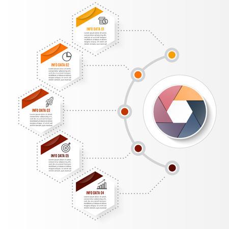 Illustration pour Vector infographic template with 3D paper label, integrated circles. Business concept with options. For content, diagram, flowchart, steps, parts, timeline infographics, workflow layout, chart - image libre de droit