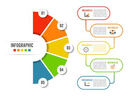 Ilustración de Circle infographic template five option, process or step for business presentation - Imagen libre de derechos