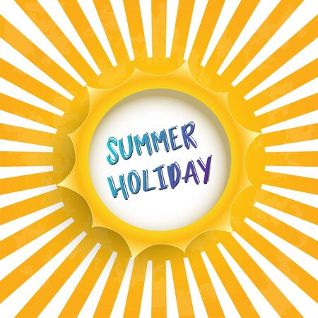 Illustration for Summer holiday vector banner sun design with white circle for text. Vector illustration. - Royalty Free Image