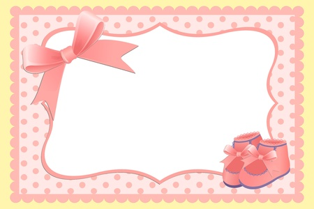 Cute template for baby's arrival announcement card or photo frame