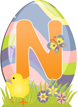 Cute initial letter N for easter design