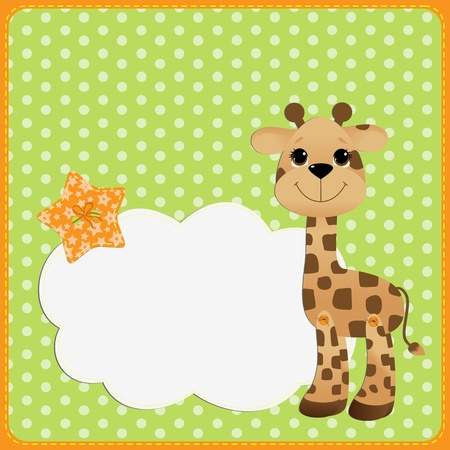 Illustration for Cute teplate for postcard with giraffe baby - Royalty Free Image