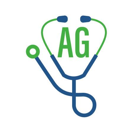Illustration pour AG Letter Logo Design with Stethoscope Icon. Modern Health Logo Concept - image libre de droit