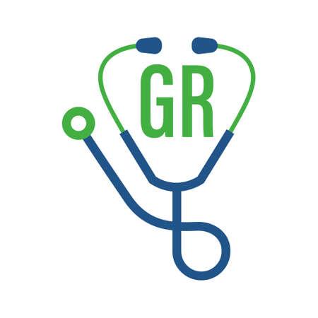 Illustration pour GR Letter Logo Design with Stethoscope Icon. Modern Health Logo Concept - image libre de droit