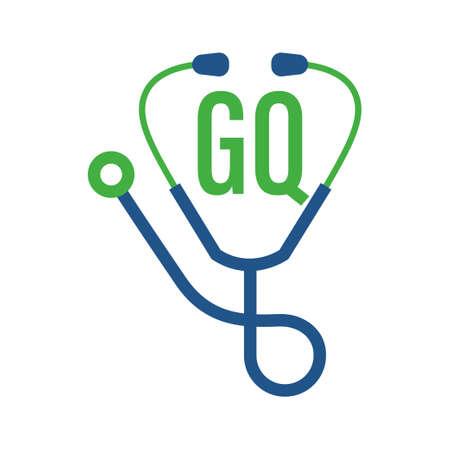 Illustration pour GQ Letter Logo Design with Stethoscope Icon. Modern Health Logo Concept - image libre de droit