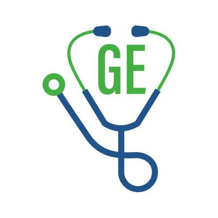Illustration pour GE Letter Logo Design with Stethoscope Icon. Modern Health Logo Concept - image libre de droit