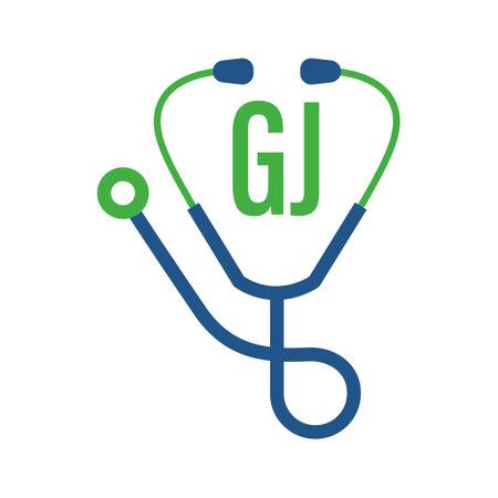 Illustration pour GJ Letter Logo Design with Stethoscope Icon. Modern Health Logo Concept - image libre de droit