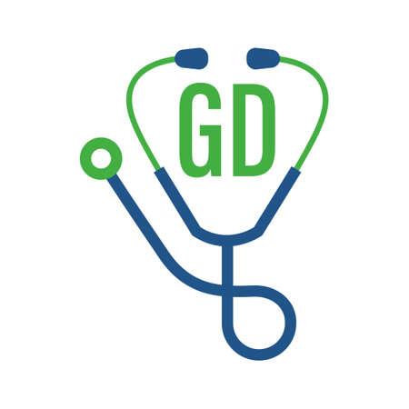 Illustration pour GD Letter Logo Design with Stethoscope Icon. Modern Health Logo Concept - image libre de droit