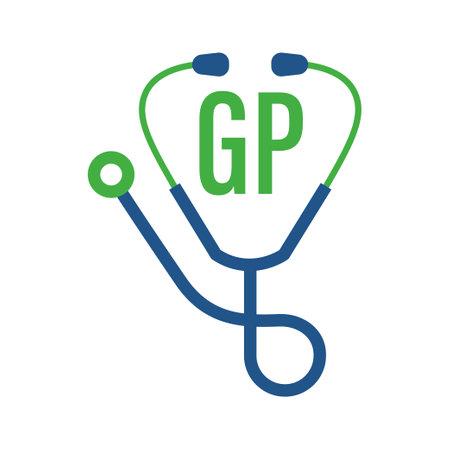 Illustration pour GP Letter Logo Design with Stethoscope Icon. Modern Health Logo Concept - image libre de droit