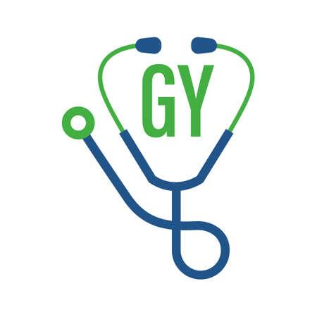 Illustration pour GY Letter Logo Design with Stethoscope Icon. Modern Health Logo Concept - image libre de droit