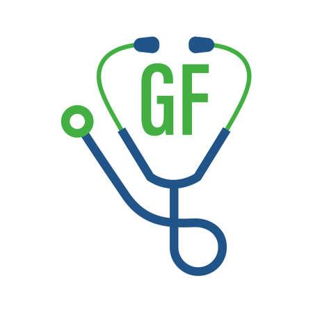 Illustration pour GF Letter Logo Design with Stethoscope Icon. Modern Health Logo Concept - image libre de droit