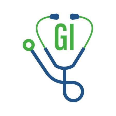 Illustration pour GI Letter Logo Design with Stethoscope Icon. Modern Health Logo Concept - image libre de droit