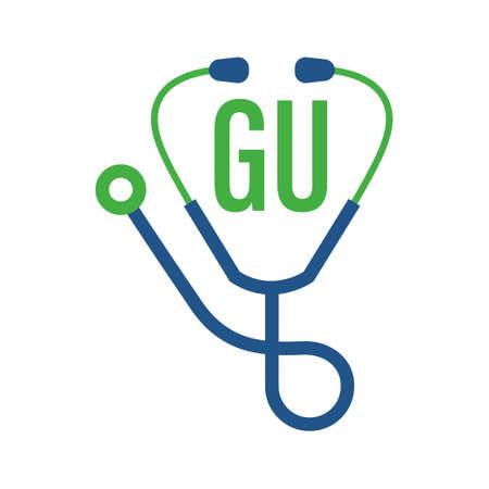 Illustration pour GU Letter Logo Design with Stethoscope Icon. Modern Health Logo Concept - image libre de droit