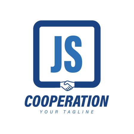 Illustration pour JS Letter Logo Design with Hand Shake Icon, Modern Cooperation Logo Concept - image libre de droit