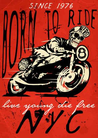 Illustration pour motorcycle illustration tee shirt graphic design - image libre de droit