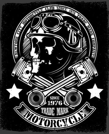 Illustration pour Vintage Biker Skull With Crossed Piston Emblem - image libre de droit