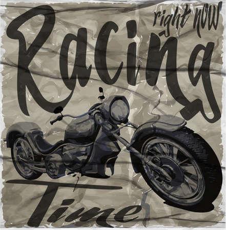 Illustration pour Legendary vintage racers t-shirt label design with racer and motorcycle hand drawn ilustration on dusty background - image libre de droit