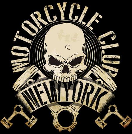Illustration pour Vintage Biker Skull Emblem Tee Graphic - image libre de droit