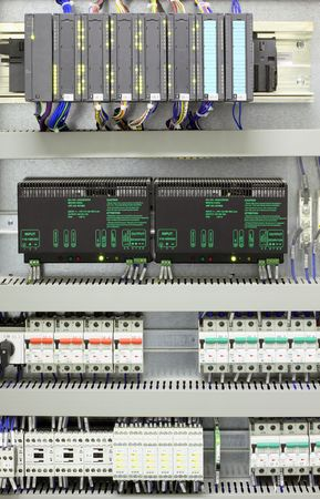 Industrial automation and control with PLC, converters, miniature circuit breakers and relays.