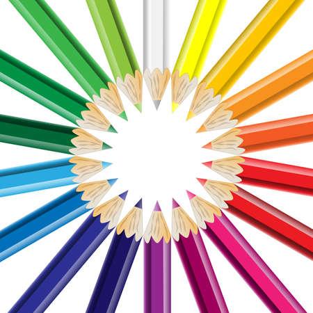 Buntstifte kreisförmig angeordnet