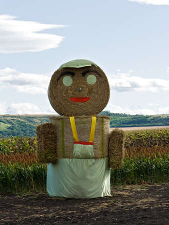 Huge straw man staying on the field