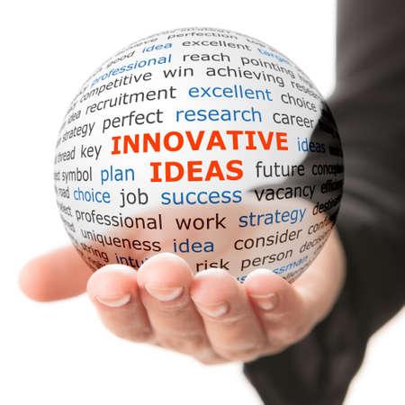Foto de Concept of innovative ideas in business. Words on the transparent ball in the hand - Imagen libre de derechos