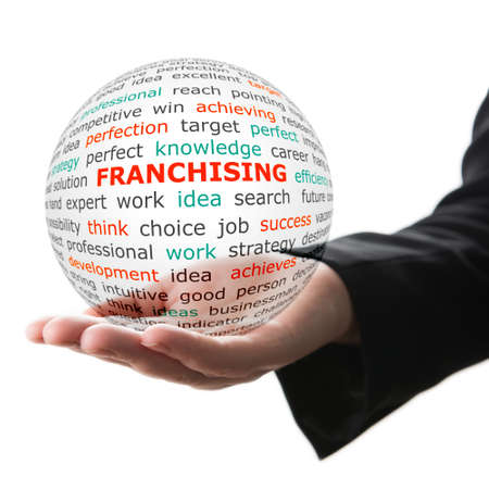 Concept of Franchising in business. Popular words on the transparent ball in the hand