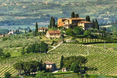 Rural landscape in Tuscany, near San Gimignano medieval village  Italy