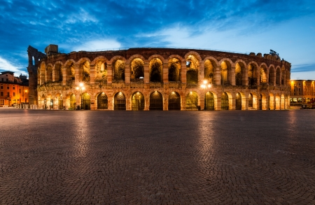 Verona amphitheatre, completed in 30AD, the third largest in the world, at dusk time  Roman Arena in Verona, Italy
