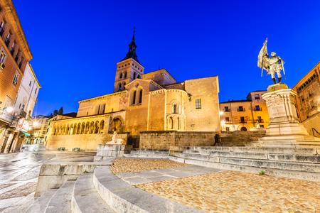 Segovia, Spain. Plaza de Medina del Campo with San Martin Church, twilight of Castile, Castillia.
