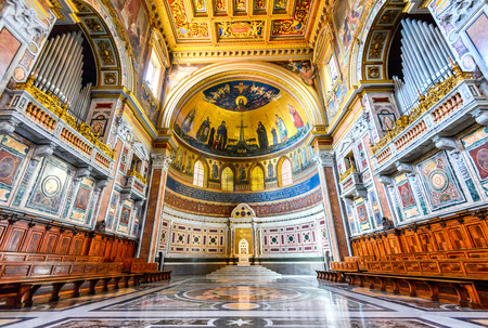 ROME, ITALY - 6 APRILI 2016: The Papal cathedral, the presence of which renders the Archbasilica St. John Lateran, San Giovanni in Laterano, the cathedral of Rome, is located in its apse.