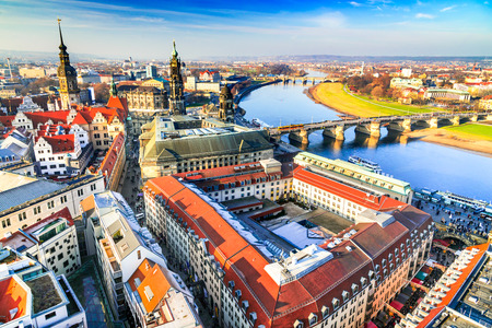 Dresden, Germany - Aerial view from Frauenkirche with Hofkirche and Augustus Bridge