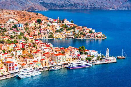 Photo pour Symi, Greece. Colored houses village in Dodecanese islands, Rhodes. - image libre de droit