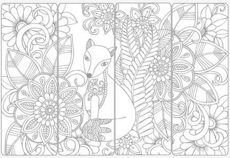 Illustration pour Cute fox and floral doodles for coloring.Vector set of monochrome bookmarks . - image libre de droit