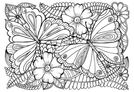 Illustration pour Vector drawing of butterflies and flower pattern for coloring. - image libre de droit