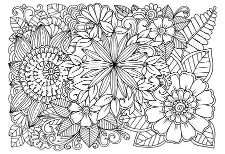 Illustration for Black and white flower pattern for adult coloring book. Doodle floral drawing. Art therapy coloring page. - Royalty Free Image