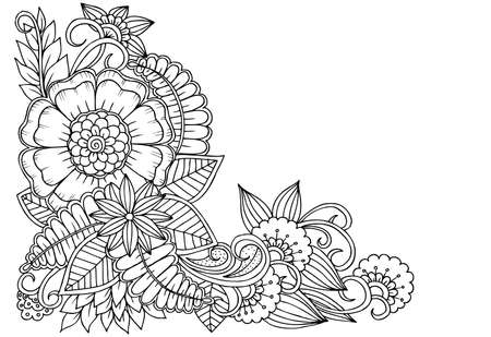Illustration pour Black and white flower corner pattern for coloring, or design books,cards - image libre de droit