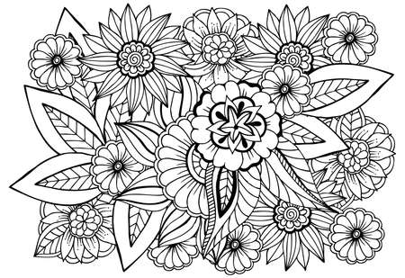 Illustration pour Black and white flower pattern for adult coloring book. Doodle floral drawing. Art therapy coloring page. - image libre de droit