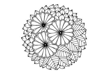 Ilustración de Floral mandala in black and white - Imagen libre de derechos