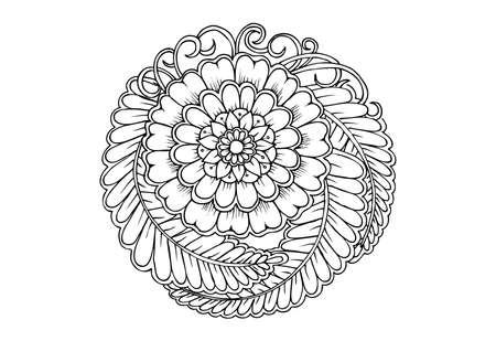 Illustration pour Floral mandala in black and white - image libre de droit