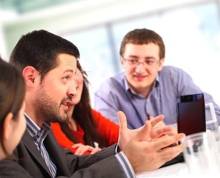 Businessman talking at a meeting