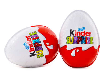 Photo for BUCHAREST, ROMANIA - FEBRUARY 24, 2016. Kinder Surprise chocolate egg with a small toy for children. Kinder Surprise eggs are manufactured by Italian company Ferrero - Royalty Free Image