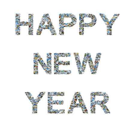 Photo collage of various travel images forming the phrase HAPPY NEW YEAR isolated on white background
