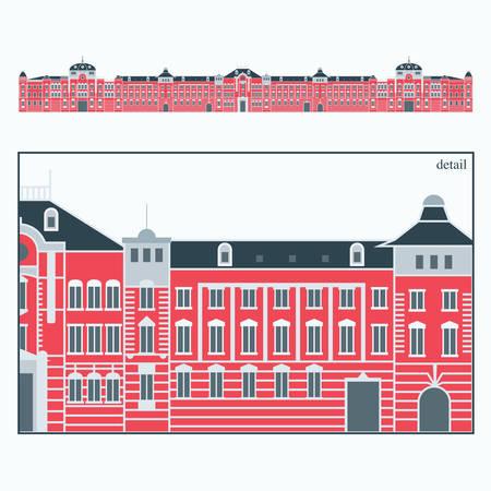 vector illustration of the Tokyo Station