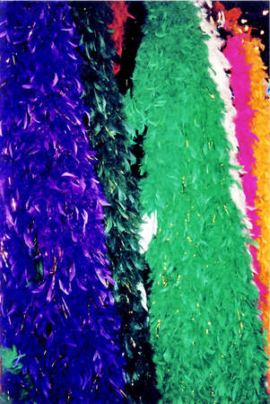 Multi colored tinsel in French Quarter of New Orleans, in 2002, Louisiana, USA