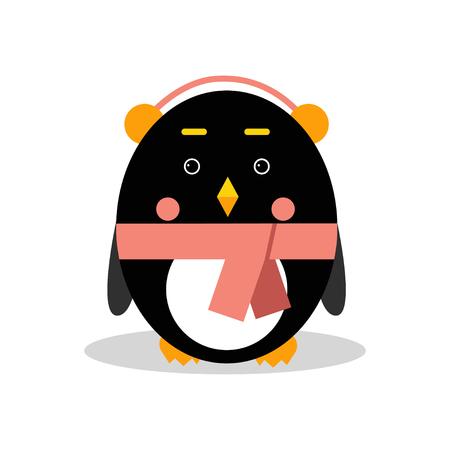 Cute cartoon penguin character wearing headphones in