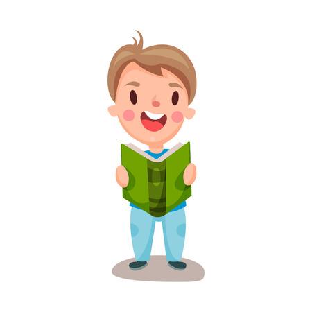Illustration pour Cute happy boy reading a book, education and knowledge concept, colorful character vector Illustration - image libre de droit