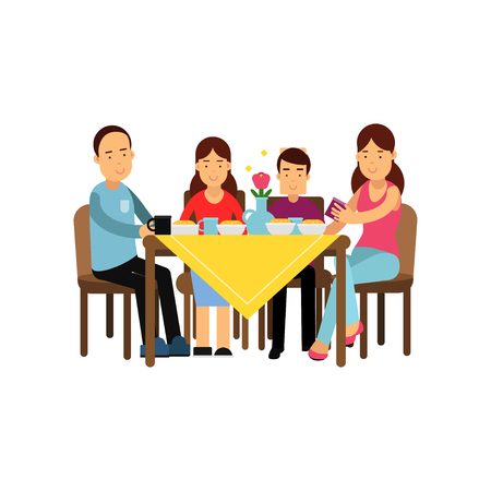 Illustration pour Happy family having meal together, husband and wife with children sitting at the table vector Illustration - image libre de droit