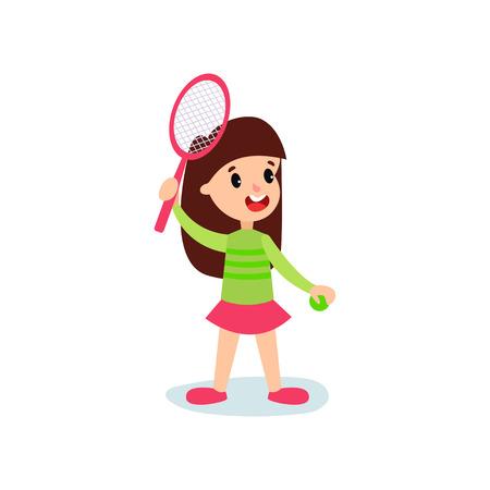 Foto für Smiling little girl character playing tennis or badminton, kids physical activity cartoon vector Illustration - Lizenzfreies Bild